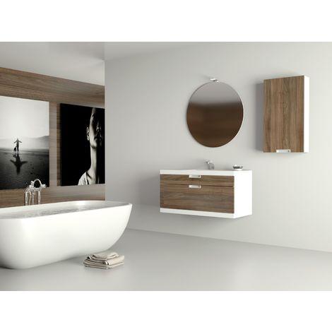 Meuble de salle de bain suspendu 100cm PRAGA 21 - Ensemble blanc et bois massif