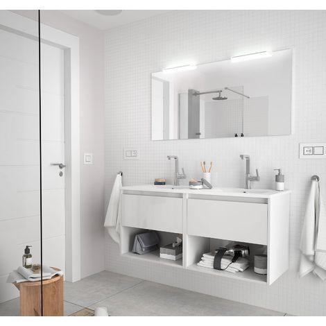 Meuble de salle de bain suspendu 120 cm Blanc brillant avec deux tiroirs et deux espaces