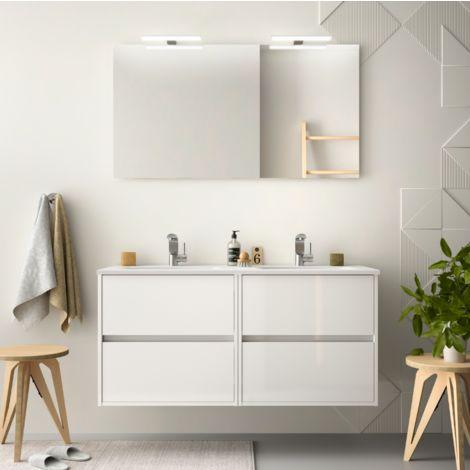 Meuble de salle de bain suspendu 120 cm blanc laque avec - Meuble salle de bain avec lavabo ...
