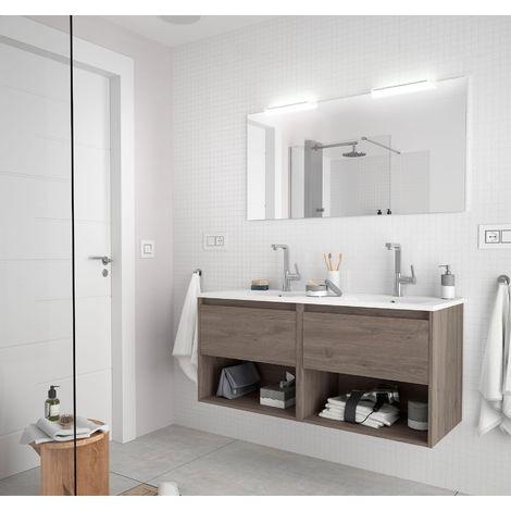 Meuble de salle de bain suspendu 120 cm Chêne eternity avec deux tiroirs et deux espaces