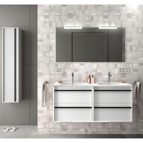 Meuble de salle de bain suspendu 120 cm en bois Blanc brillant avec lavabo en porcelaine