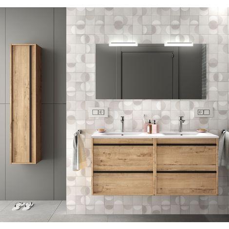 Meuble de salle de bain suspendu 120 cm en bois couleur chêne claire avec lavabo en porcelaine