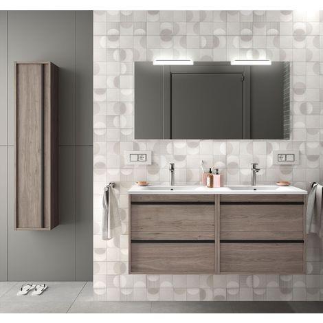 Meuble de salle de bain suspendu 120 cm en bois couleur chêne eternity avec lavabo en porcelaine