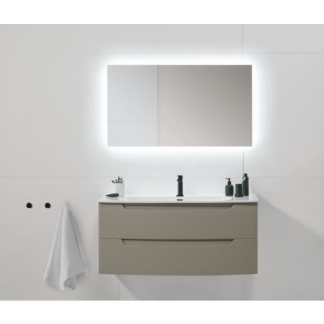 Meuble de salle de bain suspendu 120 cm Fumé mat avec lavabo en céramique