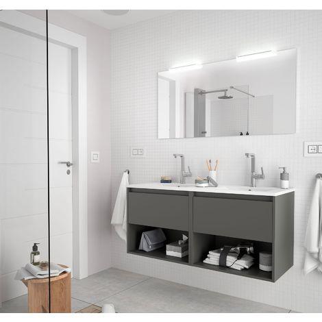 Meuble de salle de bain suspendu 120 cm gris opaque avec deux tiroirs et deux espaces
