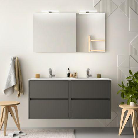 Meuble de salle de bain suspendu 120 cm gris opaque avec lavabo en porcelaine