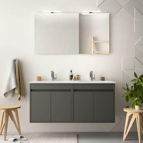 Meuble de salle de bain suspendu 120 cm gris opaque avec quatre portes