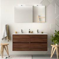 Meuble de salle de bain suspendu 120 cm marron Acacia avec lavabo en porcelaine