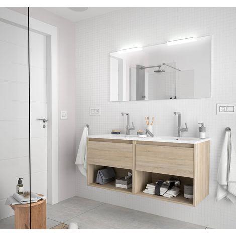Meuble de salle de bain suspendu 120 cm marron Caledonia avec deux tiroirs et deux espaces