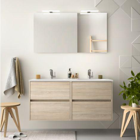 Meuble de salle de bain suspendu 120 cm marron Caledonia avec lavabo en porcelaine