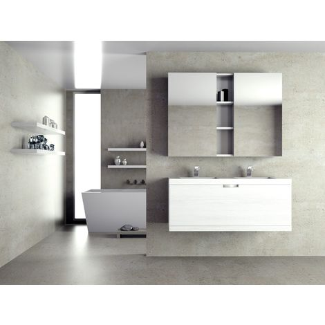Meuble de salle de bain suspendu 120cm PRAGA 22 - Ensemble blanc