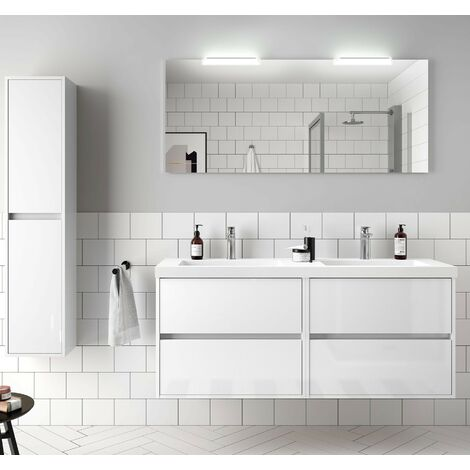 Meuble de salle de bain suspendu 140 cm Blanc brillant avec Lavabo en charge minéral
