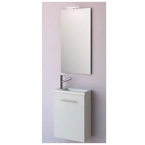 Meuble de salle de bain suspendu 40 cm blanc avec lavabo à encastrer collection Micro