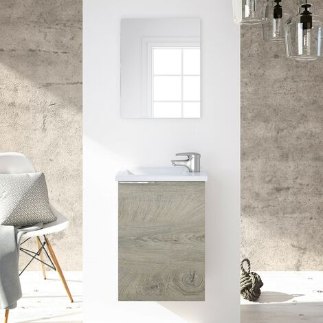 Meuble de salle de bain suspendu 40 cm Chêne avec miroir et lavabo
