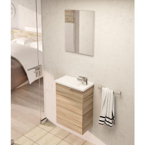 Meuble de salle de bain suspendu 40 cm et miroir