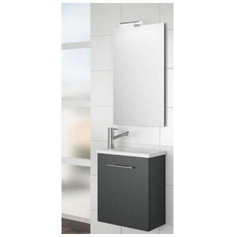 Meuble de salle de bain suspendu 40 cm gris lucide avec lavabo à encastrer collection Micro