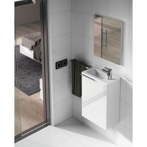 Meuble de salle de bain suspendu 40 cm laqué blanc avec miroir