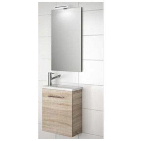 Meuble de salle de bain suspendu 40 cm marron Caledonia avec lavabo à encastrer collection Micro