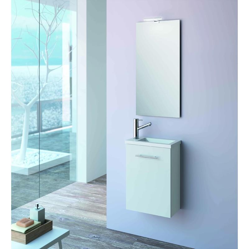Meuble de salle de bain suspendu 400 mm blanc avec lavabo à encastrer  collection Micro | Avec miroir et lampe LED