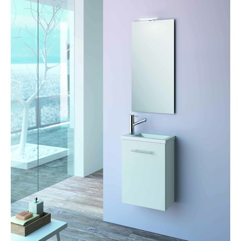 Meuble de salle de bain suspendu 400 mm blanc avec lavabo encastrer collection micro - Micro salle de bain ...