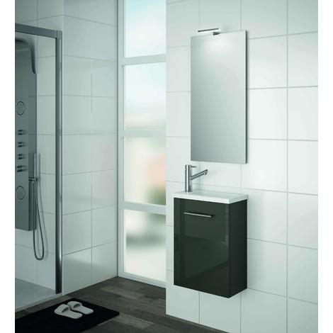 Meuble de salle de bain suspendu 400 mm gris lucide avec lavabo à ...