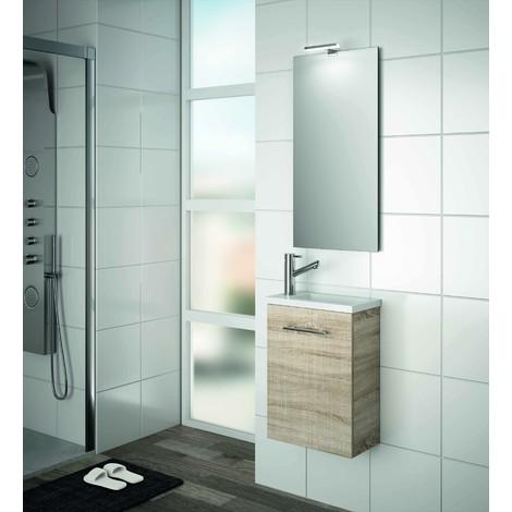 Meuble de salle de bain suspendu 400 mm marron Caledonia avec lavabo ...