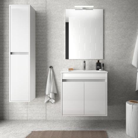 Meuble de salle de bain suspendu 60 cm Blanc laque avec deux portes