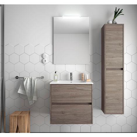 Meuble de salle de bain suspendu 60 cm Chêne eternity avec lavabo en porcelaine
