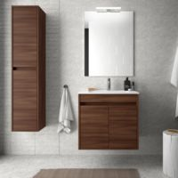 Meuble de salle de bain suspendu 60 cm marron Acacia avec deux portes