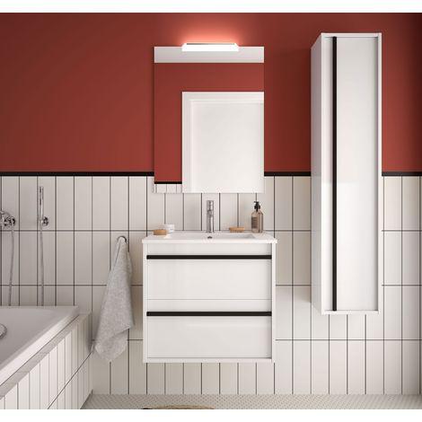 Meuble de salle de bain suspendu 60 cm Nevada en bois Blanc brillant avec lavabo en porcelaine