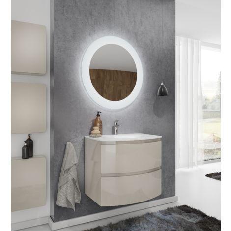 Meuble de salle de bain suspendu 70 cm Atene Crème Brillant avec Lavabo