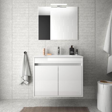 Meuble de salle de bain suspendu 70 cm blanc laque avec deux portes avec colonne miroir et - Meuble salle de bain blanc laque ...