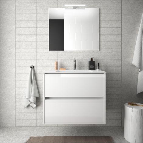 Meuble de salle de bain suspendu 70 cm blanc laque avec lavabo en porcelaine