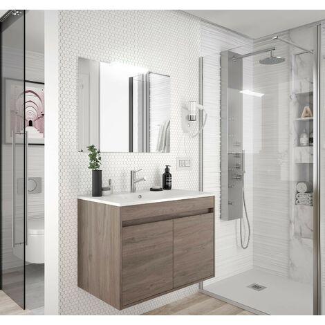Meuble de salle de bain suspendu 70 cm Chêne eternity avec deux portes