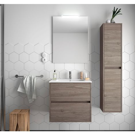 Meuble de salle de bain suspendu 70 cm Chêne eternity avec lavabo en porcelaine
