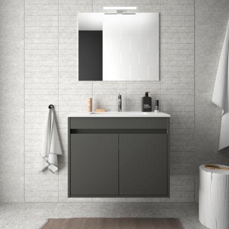Meuble de salle de bain suspendu 70 cm gris opaque avec deux portes