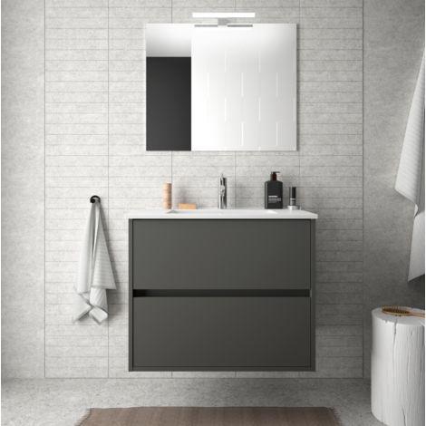 Meuble de salle de bain suspendu 70 cm gris opaque avec lavabo en porcelaine