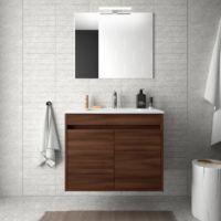 Meuble de salle de bain suspendu 70 cm marron Acacia avec deux portes