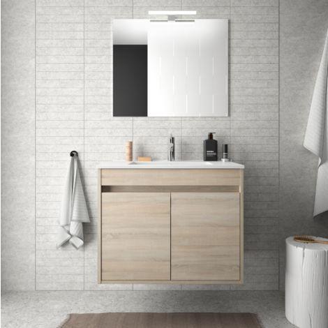 Meuble de salle de bain suspendu 70 cm marron Caledonia avec deux portes