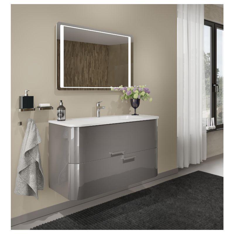Meuble de salle de bain suspendu 80 cm Apollo Gris foncé brillant avec  Lavabo