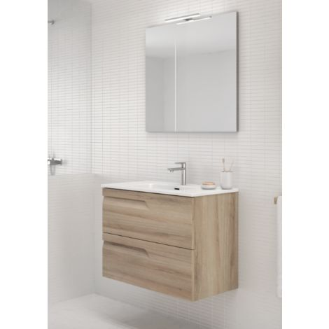 Meuble de salle de bain suspendu 80 cm Beige Nature avec ...