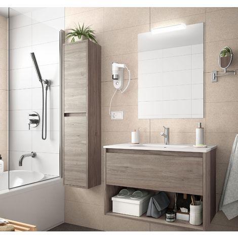 Meuble de salle de bain suspendu 80 cm Chêne eternity avec un tiroir et un espace