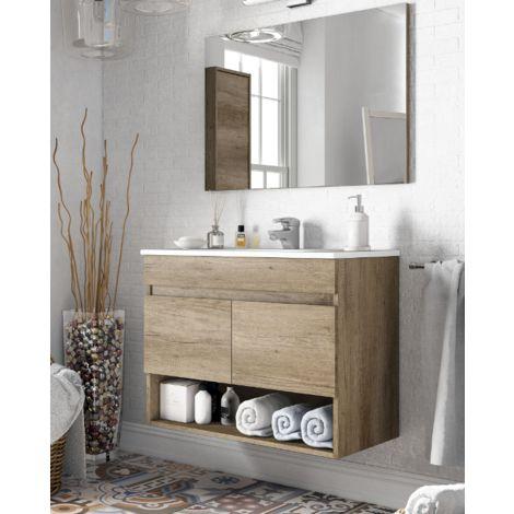 Meuble de salle de bain suspendu 80 cm couleur Nordik avec miroir