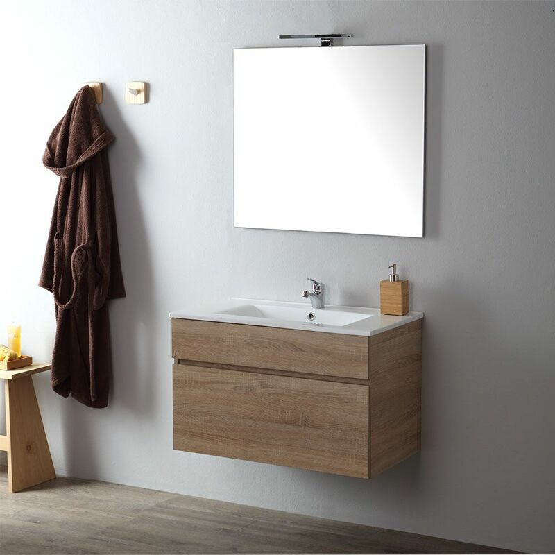 Meuble De Salle De Bain Suspendu 80 Cm En Chene Well Sole