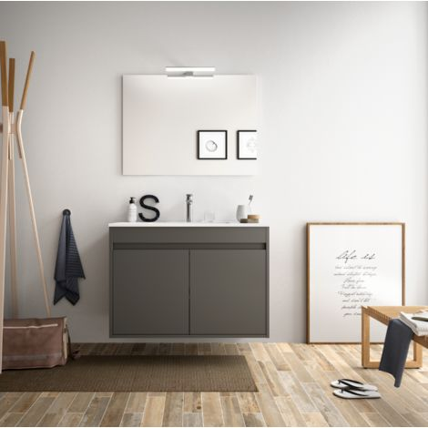 Meuble de salle de bain suspendu 80 cm gris opaque avec deux portes