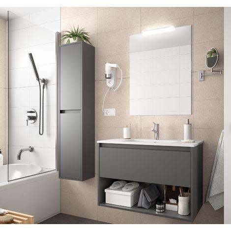 Meuble de salle de bain suspendu 80 cm gris opaque avec un tiroir et un espace
