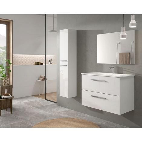Meuble de salle de bain suspendu 80 cm laquée blanc brillant et miroir