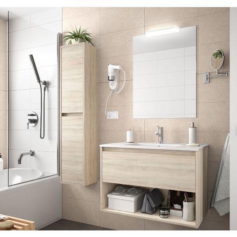 Meuble de salle de bain suspendu 80 cm marron Caledonia avec un tiroir et un espace