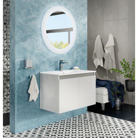 Meuble de salle de bain suspendu 80 cm Moon Blanc Brillant avec deux portes