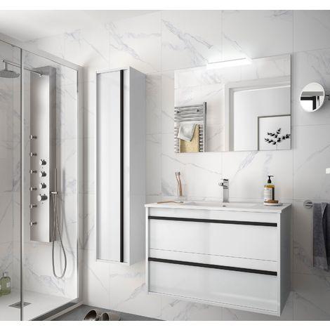 Meuble de salle de bain suspendu 80 cm Nevada en bois couleur Blanc brillant avec lavabo en porcelaine